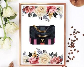 Chanel print, Chanel illustration, Coco Chanel quotes, Coco Chanel bag, Chanel art print, Fashion illustration, Chanel watercolor