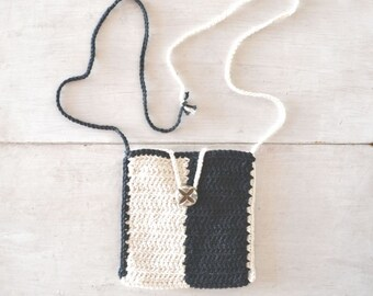 Cross Body Bag - 25% OFF - Small Crochet Shoulder Purse - Black White Color Block - Hippie Hip Bag - Long Shoulder Strap