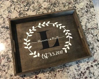 Decorative personalized tray / custom serving tray / wooden tray / wedding gift / housewarming gift / engagement gift