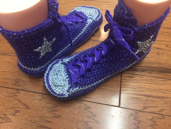 high Tennis shoes slippers purple Womens crocheted 8 10 house converse Crocheted Sneaker 181 Slippers top slippers tops converse high Shoe q4ffdwRI