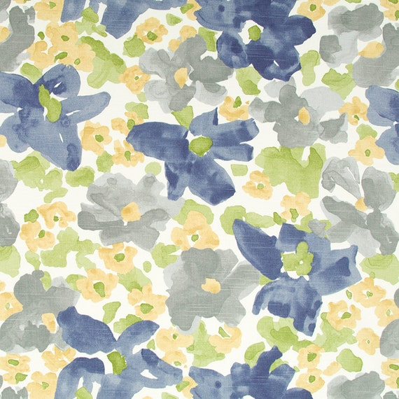 Grey Yellow Upholstery Fabric - Abstract Grey Blue Floral Cotton ...