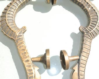 """2  large SEAHORSE solid brass door old style heavy house PULL handle 14"""""""