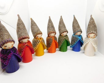 Days of the Week Gnomes in Earthly Tones  A Set of Seven Gnome Wooden Peg Dolls Waldorf Hand Crafts