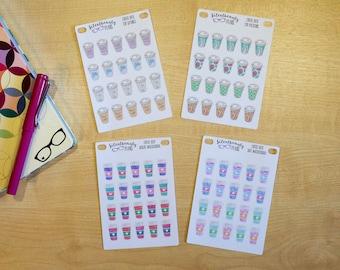 Coffee Icon Stickers - 4 Options, Planner Stickers, Filofax, Kikki-K, Erin Condren, Happy Planner, TN, UK