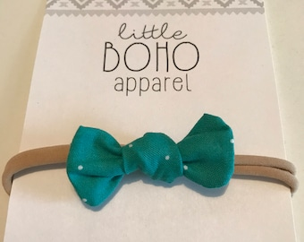 Petite Teal Twinkle Bow