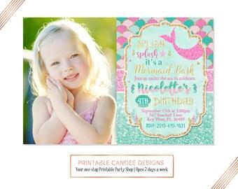 Pink Splish Splash Mermaid Invitation Mermaid Birthday Invitation Teal Gold Under The Sea Invitation Mermaid Birthday Party