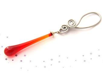 handmade drop hanging Murano glass Lampwork drop Christmas Red