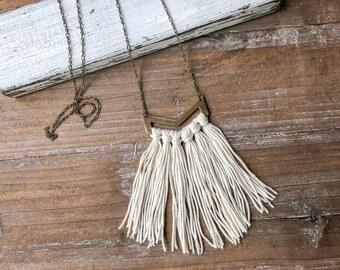 Long tassel necklace // long boho tassel necklace // ivory necklace // minimalist necklace // strand tassel necklace // statement necklace