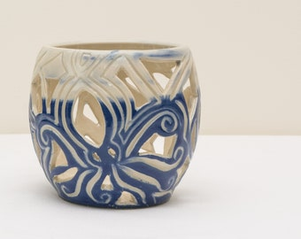 5 inch Blue and White Octopus Candle Holder