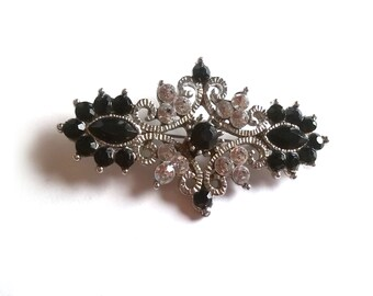 Vintage Silver Tone Statement Brooch with Glass Crystals and Matte Black Acrylic Stones