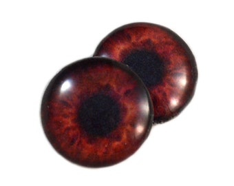 16mm Dark Brown Color Eyes Glass Eye Pair of 2 16mm - Fantasy Taxidermy Eyes for Jewelry Making or Art Doll Irises