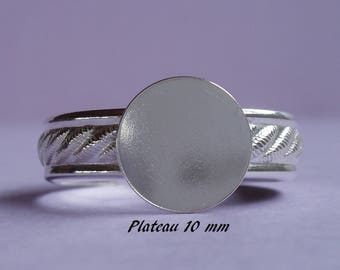 Ring in sterling silver.925 classic pattern, 10 mm round flat top