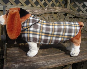 Yellow Brown and White Plaid Fleece Coat- Size Medium- 16 to 18 Inch Back Length- Or Custom Size