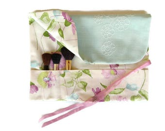 Makeup Brush Roll Purple Floral Cosmetic Organizer Beauty Gift