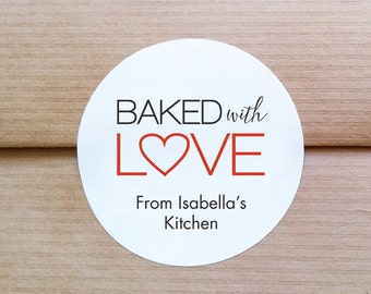 Baked With Love Labels - Made with love stickers - Personalized round labels - Handmade goods stickers - Mason jar labels (L-02)