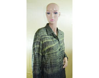 Vintage DUO women top blouse green shirt