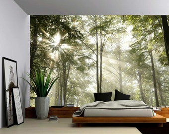 Marvelous Forest Tree Rays Of Light   Large Wall Mural, Self Adhesive Vinyl Wallpaper,  Peel U0026 Stick Fabric Wall Decal