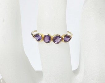 Amethyst 14K Gold Ring - February Birthstone - Anniversary Band - Made to Order, yellow, white, rose gold