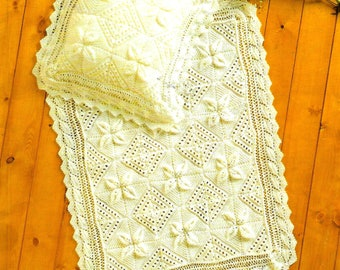 SIRDAR 3806 Vintage Baby Blanket & Pillowcase Knitting Pattern Instant Download