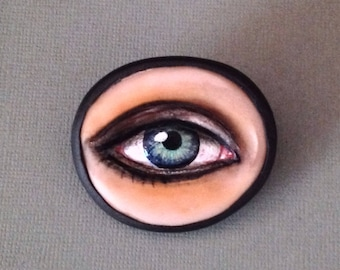 Eye Brooch - OOAK One of A Kind Unique Realistic Polymer Clay Pin