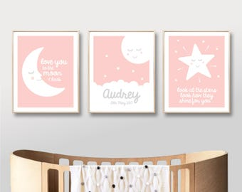 Nursery Printable Name Art Prints, Digital Baby Girl Printable Art, Moon Stars Love, Custom Name Nursery Art Print, Pink / INSTANT DOWNLOAD