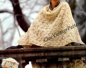 Knitted Poncho and Hat ... Ladies Lace Knit Poncho ... PDF Knitting Pattern ... Warm, Stylish Poncho ... Super Useful .. Instant Download
