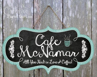 Personalized chalkboard Cafe Sign, coffee sign, personalized coffee sign, espresso sign, coffee shop, chalkboard sign, coffee sign with name