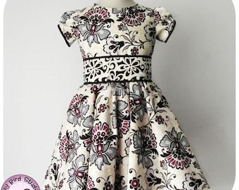 Lily Bird Studio PDF Sewing Pattern - Amanda's Dress - 1 to 10 years - circle skirt, classic bodice, puffy sleeves, wide sash