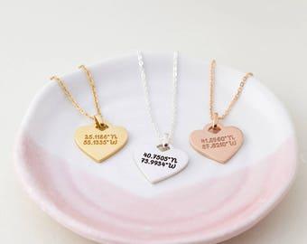 Heart coordinates necklace - Latitude longitude necklace - Coordinates jewelry - College graduation gifts - High school graduation gift