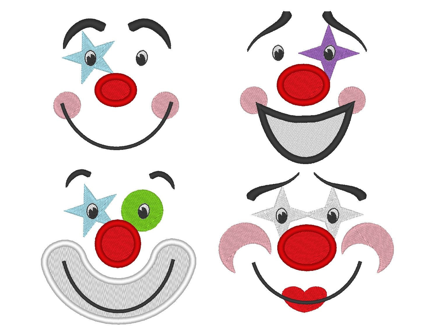 Adorable clown faces for your toy machine embroidery and for Embroidery office design version 9