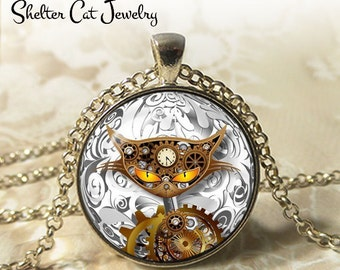 "Steampunk Mechanical Cat Necklace - 1-1/4"" Circle Pendant or Key Ring - Handmade Wearable Art Photo - Gears, Science, Nature, Gift"
