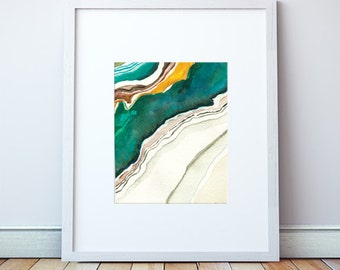 Agate II Abstract Watercolor: Art Print, Agate Art, in Turquoise