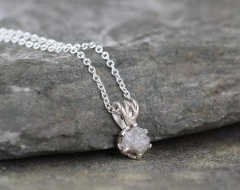 Raw Diamond Pendant - 0.50 carat Diamond Necklace - Uncut Rough Diamond - Sterling Silver - April Birthstone - Jewelery Made in Canada -