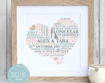1 YEAR ANNIVERSARY GIFT - 1st Anniversary Gift | Personalised Print | Gift for Him | Printable | First Anniversary Gift | Paper Anniversary