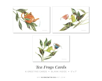 Tea Frog Greeting Cards, Pack of 6, 5x7, Blank Inside, Frog Greeting Cards, Tea Note Cards, Watercolor Frog Cards, 3 Different Frog Cards