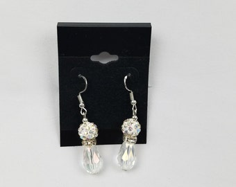 White Disco Dangle Drop Earrings