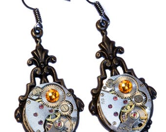 Steampunk Earrings - Topaz Swarovski Crystal