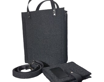 Felt Laptop bag with pockets , sleeve, Laptop case with belt, wires organizer, messenger bag, cord case,