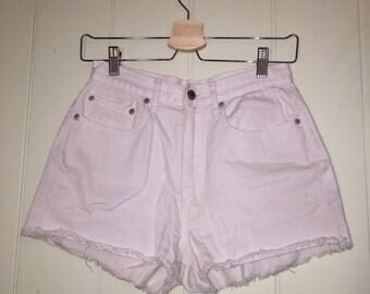 High waisted white denim shorts