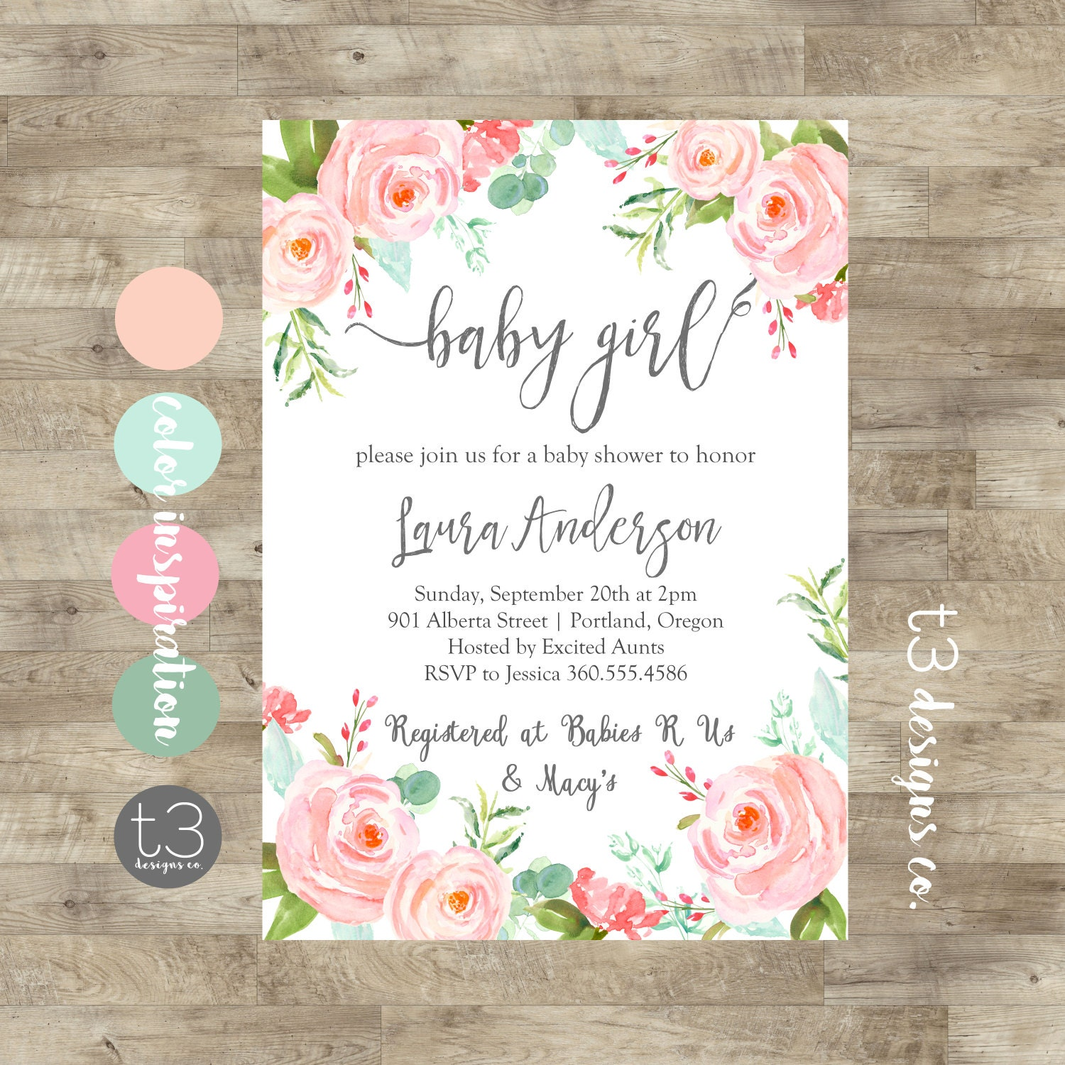 Floral Girl Baby Shower Invitation, baby girl shower invite, baby ...