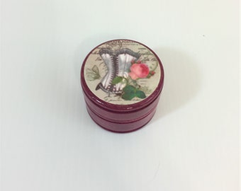 Shabby Vintage Corset and Rose Round Wood Trinket or Ring Box