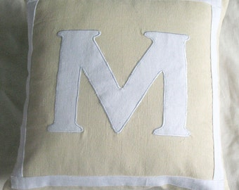 Cream monogram letter pillow  cover custom made cushion cover personalize  throw pillow gift pillow cover choose your colors-18 inches