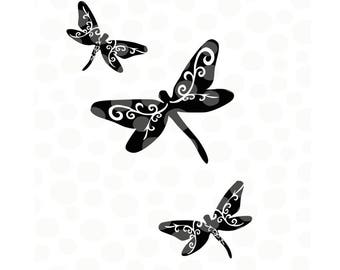 dragonflies svg, dragonfly cut files, dragonfly silhouette,  spring svg, dragonfly svg, flourish svg, garden svg, gardening, cut files, dxf