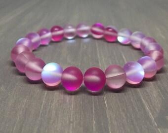 8mm Matte Pink Flame Aura Bracelet - Stretch Gemstone Bracelet - Yoga Bracelet
