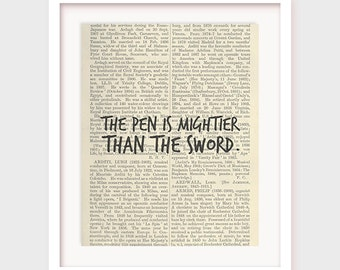 Printable Library Decor, Book Quote, The pen is mightier than the sword, Library Poster Wall Art, Books, Proverbs Art, Office Decor Poster