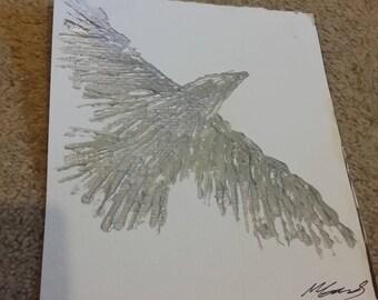 Silver Acrylic Paint Bird