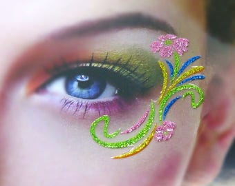 2 Glitter Flower Eye Stickers (One Sheet) - Music Festival Makeup Sticker