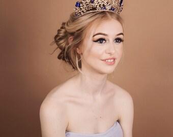 blue tiara - blue crown - blue gold silver tiara crown - wedding accessories - hair accessories - bridal crowns and tiaras - tiaras uk