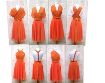 Orange  Infinity Dress two layers with chiffon  Convertible/Infinity Dress