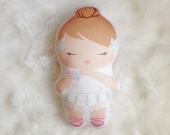 Swan Lake White Swan Ballerina Soft Doll, Soft Toy, Pillow Doll, Nursery Decor, Ballet Tutu Doll